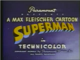 Title screenshot from the 1941 animated short Superman. The film is in the public domain and available all over the Web.