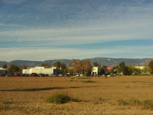 A view of the San Bernardino Mountains with the leaves on the trees turning colors.