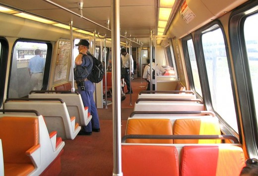 Inside a standard Metro train car