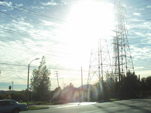 Sun streaming through pylons in Southern California.