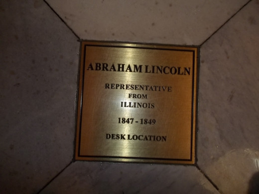 Floor plaque at the location in the U.S. Capitol where Abraham Lincoln's desk sat.