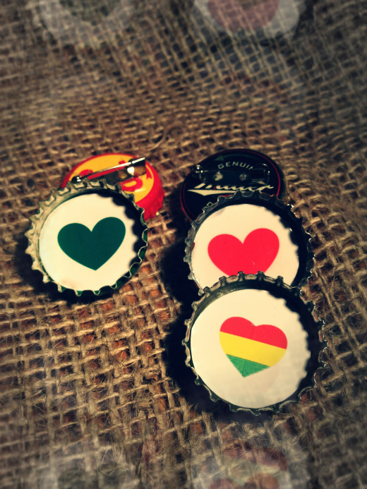 Recycled Bottle Cap Badges