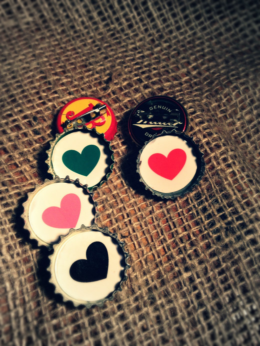 Heart Recycled Bottle Cap Badges