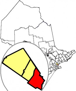 Map location of Mississauga, Ontario