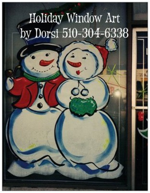This is a double sided postcard I ordered from Vistaprint for one of my businesses. I designed it using a photo of one of my Christmas painted holiday windows. My customers love the postcard.