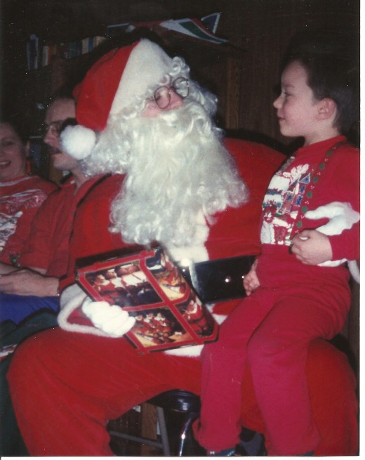 Joshua has a conversation with Santa before receiving his gift.
