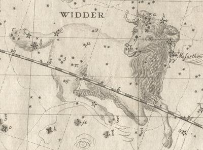 A drawing of Aries from Bode's Uranographia