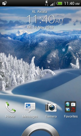 A screenshot of the lock screen, captured with the HTC One V itself