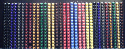 In a Nespresso shop you can find a great variety of flavors, with each color for a different flavor and intensity