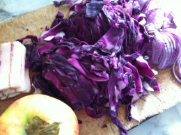 Apple, sliced cabbage, bacon
