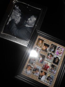 Blown up black and white photo (left). Collage of family photos (right).