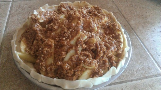 Apple Crisp Pie with Peanut Butter ready to bake!