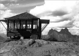 The 'little shadowy peaked shack standing alone on the top of the world' on Desolation Peak in the Cascade Mountains.