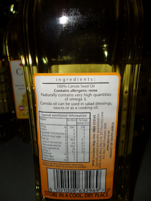 Although the label states 100% canola oil, there is no clarification whatsoever as to exactly what canola oil really is...although I suppose if there was, no one would want to eat it.