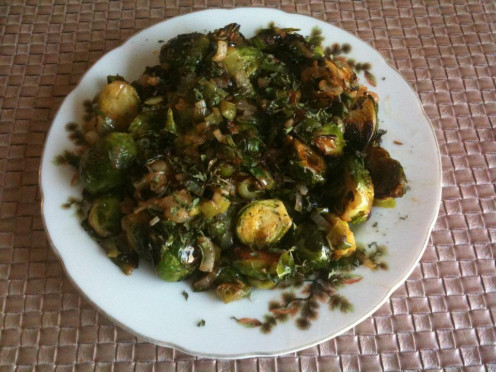 Fried Brussels Sprouts with Polish Salo (Pork Fat) and Chibolita Onions