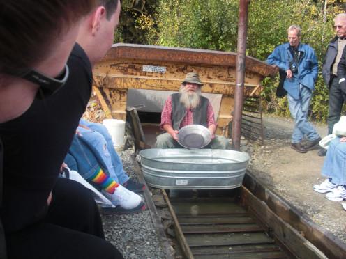 Dexter Clark demonstrating gold panning