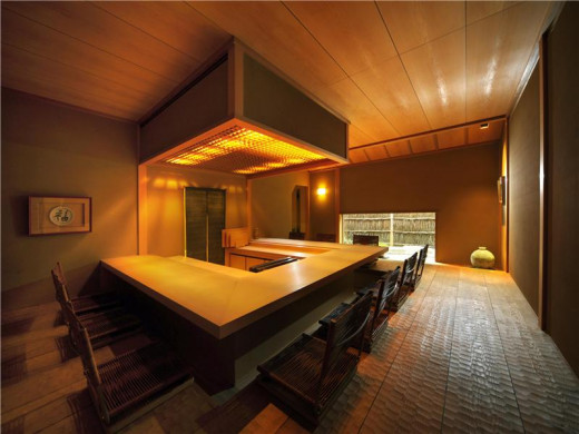 Japanese style 'Ryotei' dining room -  the chef can directly serve guests here from the gourmet kitchen