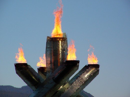 The Olympic flame in Vancouver during the 2010 Winter Olympics
