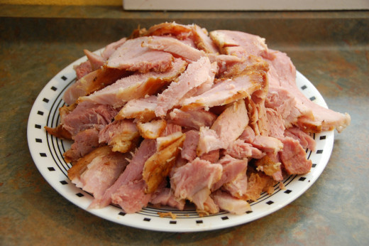 Huge plate of fantastic ham for the holidays any day!