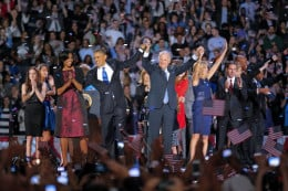 President Obama and Vice President Biden and their famiiies celebrate their victory with the crowd on Nov 7. 2012- Obama had just been re-elcted with a mandate by the Americans people/voters