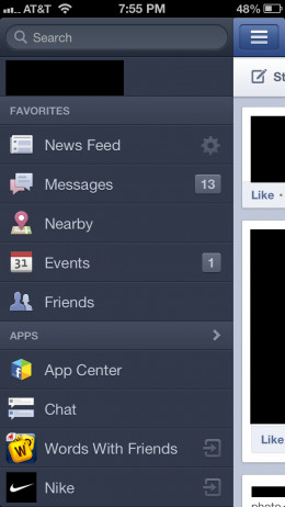 Tap the gear icon to the right of News Feed in the Favorites section.