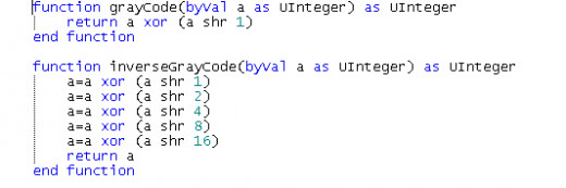 The Gray code and inverse Gray code algorithms. Shr n means shift n bits right.