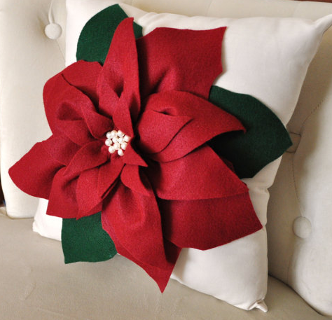 Gorgeous poinsettia pillow.