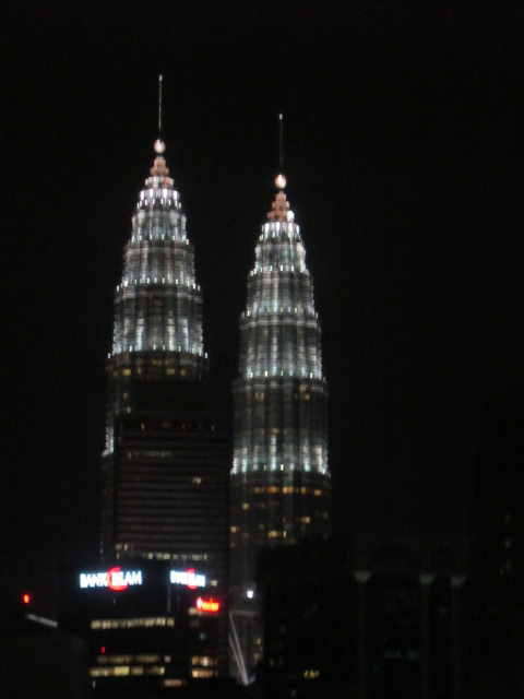 The other magnificent  Petronas Twin Towers in Kuala Lumpur  lighted at night.Taken from my hotel room.
