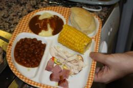 The kids' Thanksgiving dinner plate.