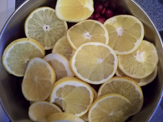 Oranges and lemons added to the cranberries.
