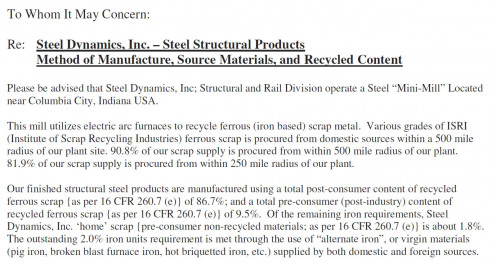 Snapshot of a manufacturer's document showing recycled content and regional materials.