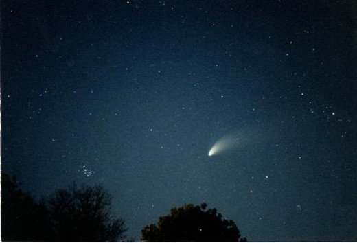 This is acutally a comet photograph. However, meteors and meteor showers are commonly produced from the debris of comets.