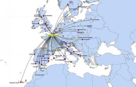 Ryanair Airlines routes to Paris Beauvais airport