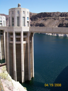One of the water turbines in Lake Mead