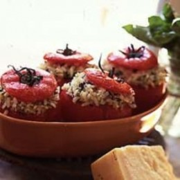 Stuffed Tomatoes (Rosana's Orange Almond Rice Stuffing) from Bacon Wrapped Turkey Hub