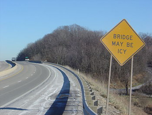 Black Ice forms on bridges and overpasses first because they have no ground underneath to help keep them warm.
