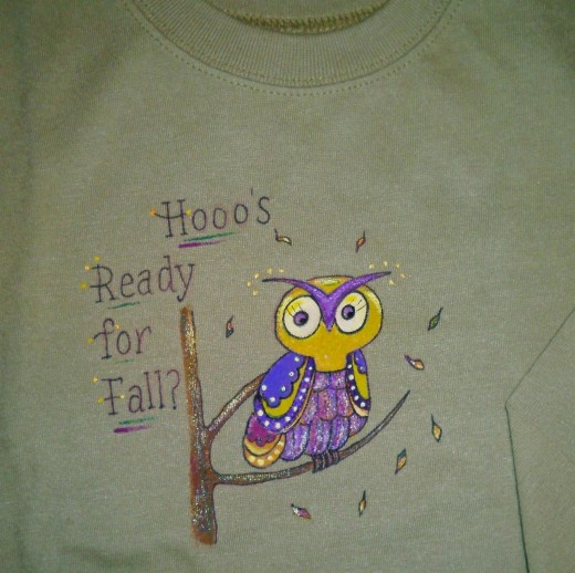 Our 18-month-old baby granddaughter's painted tee shirt.
