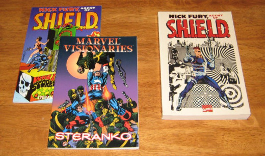 Paperback collections containing Jim Steranko's classic Marvel Comics work.