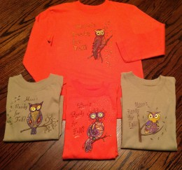 Four children's tee shirts were easy to paint thanks to Sulky's Iron On Transfer Pens!