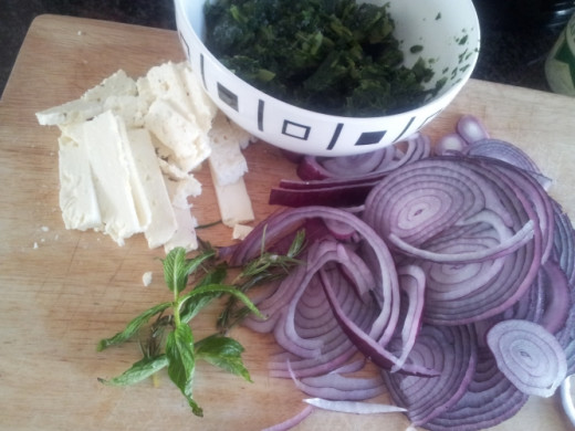Red onions, herbs and feta cheese pack a ton of flavour in every food dish.