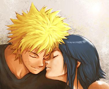 Naruto and Hinata in a sweet moment.