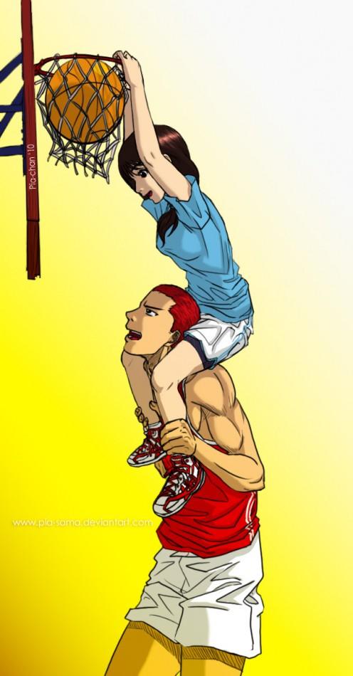 Sakuragi helping Haruko slam dunk.