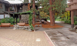 Note the difference in rain absorption between the courtyard and adjoining non-permeable sidewalks.