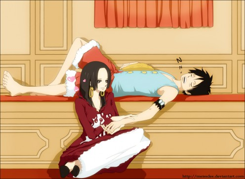 Luffy and Boa in a sweet moment.