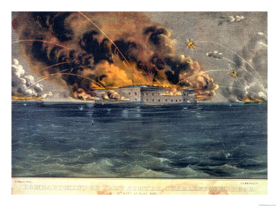 Bombardment of Fort Sumter, Charleston Harbour, 12th & 13th April 1861, Pub. by Currier & Ives