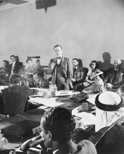 Lester B. Pearson addressing a United Nations committee
