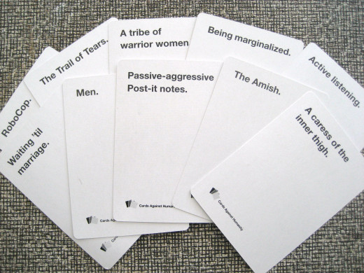A random selection of ten white cards, which are potential answers for the black cards.