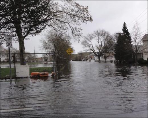 Flooded Mott Street in Oceanside