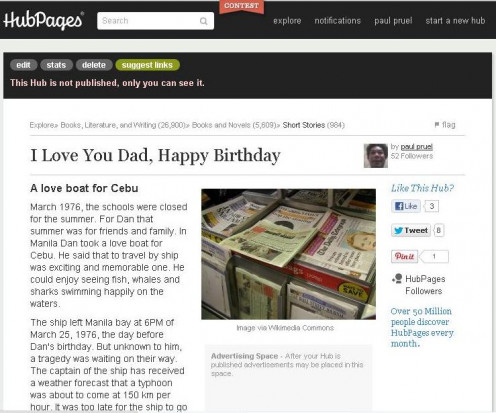 I love you dad, happy birthday (3 of 5 unpublished hubs) was first published at HubPages on July 17, 2012 but I decided to unpublished it.