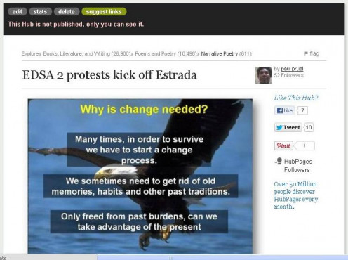 EDSA 2 protests kicked off Estrada (4 of 5 unpublished hubs) was first published at HubPages on July 17, 2012 but I decided to unpublished it.